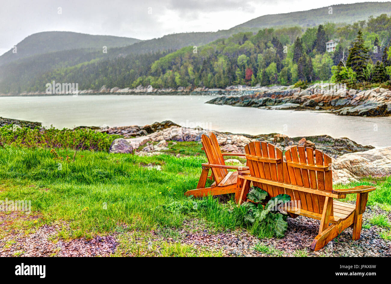Port-au-Persil beach in Quebec, Canada Charlevoix region during stormy rainy day with Saint Lawrence river Stock Photo