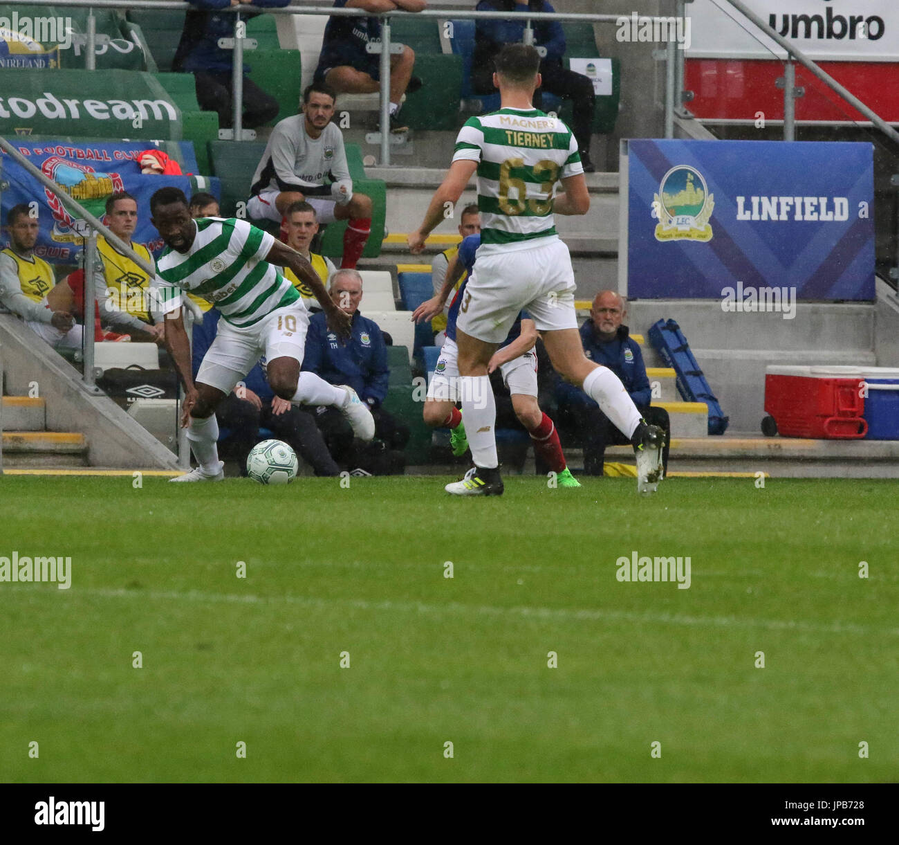 Windsor Park, Belfast, Northern Ireland. 14th July. Linfield 0 Celtic 2. Celtic's Moussa Dembele (10) in action. - Stock Image