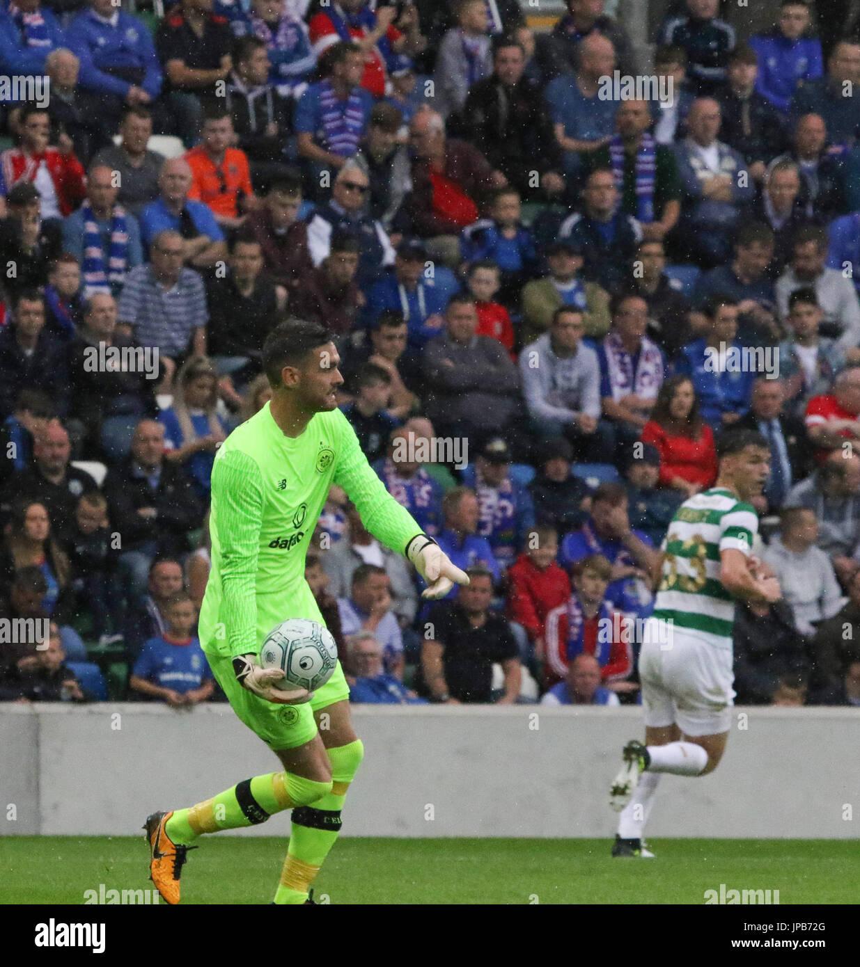 Windsor Park, Belfast, Northern Ireland. 14th July. Linfield 0 Celtic 2. Celtic's Craig Gordon (1) in action. - Stock Image