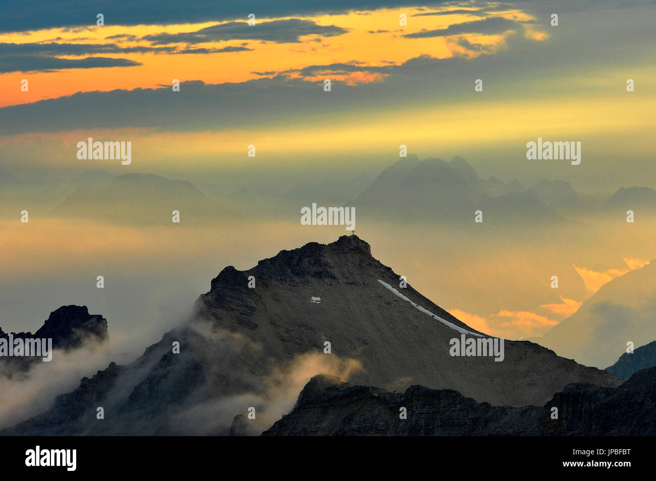 Light mood in the high mountains, recorded from the Birkkarspitze - Stock Image