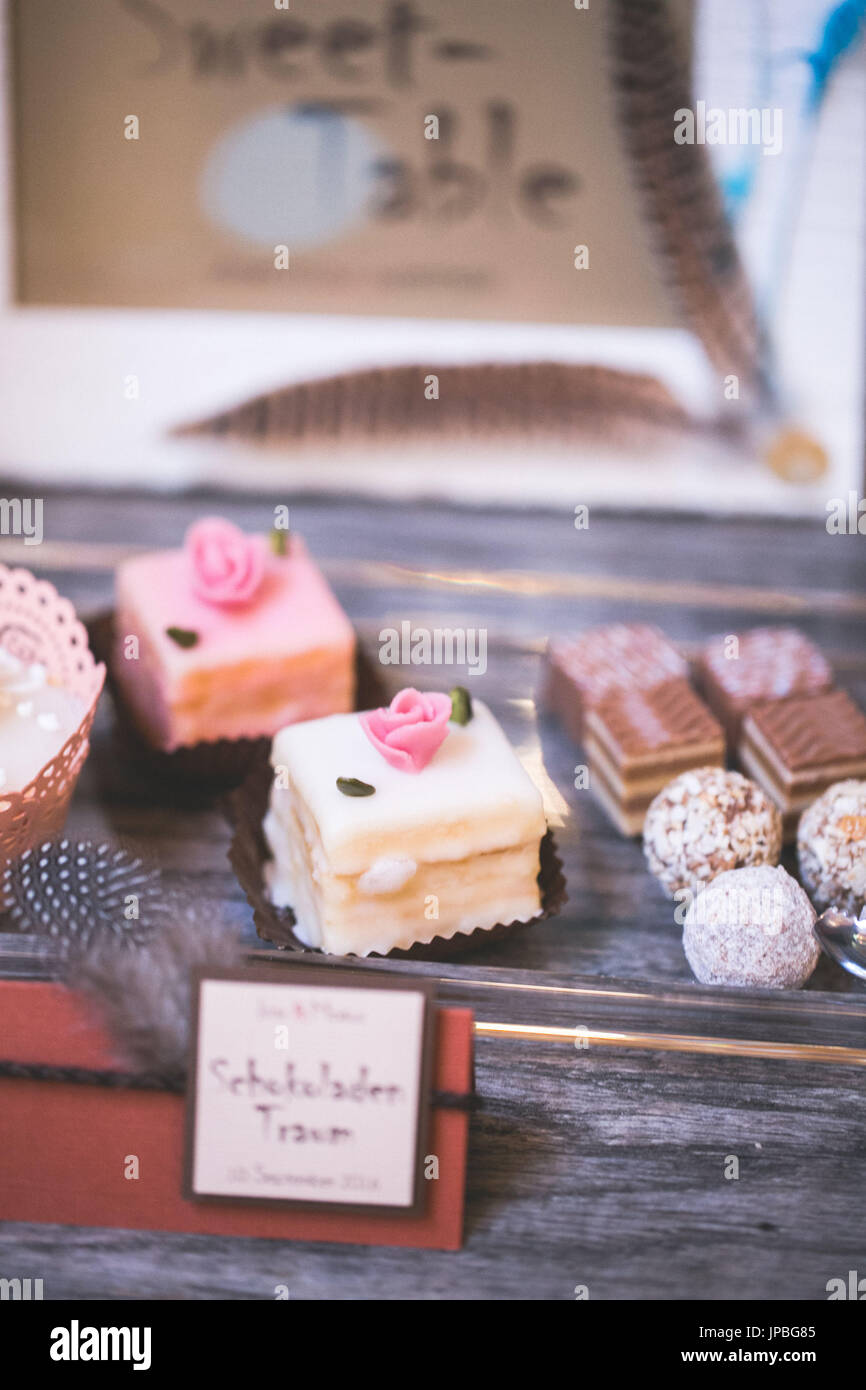 Tartlets Petit Fours And Chocolates At A Wedding Stock Photo