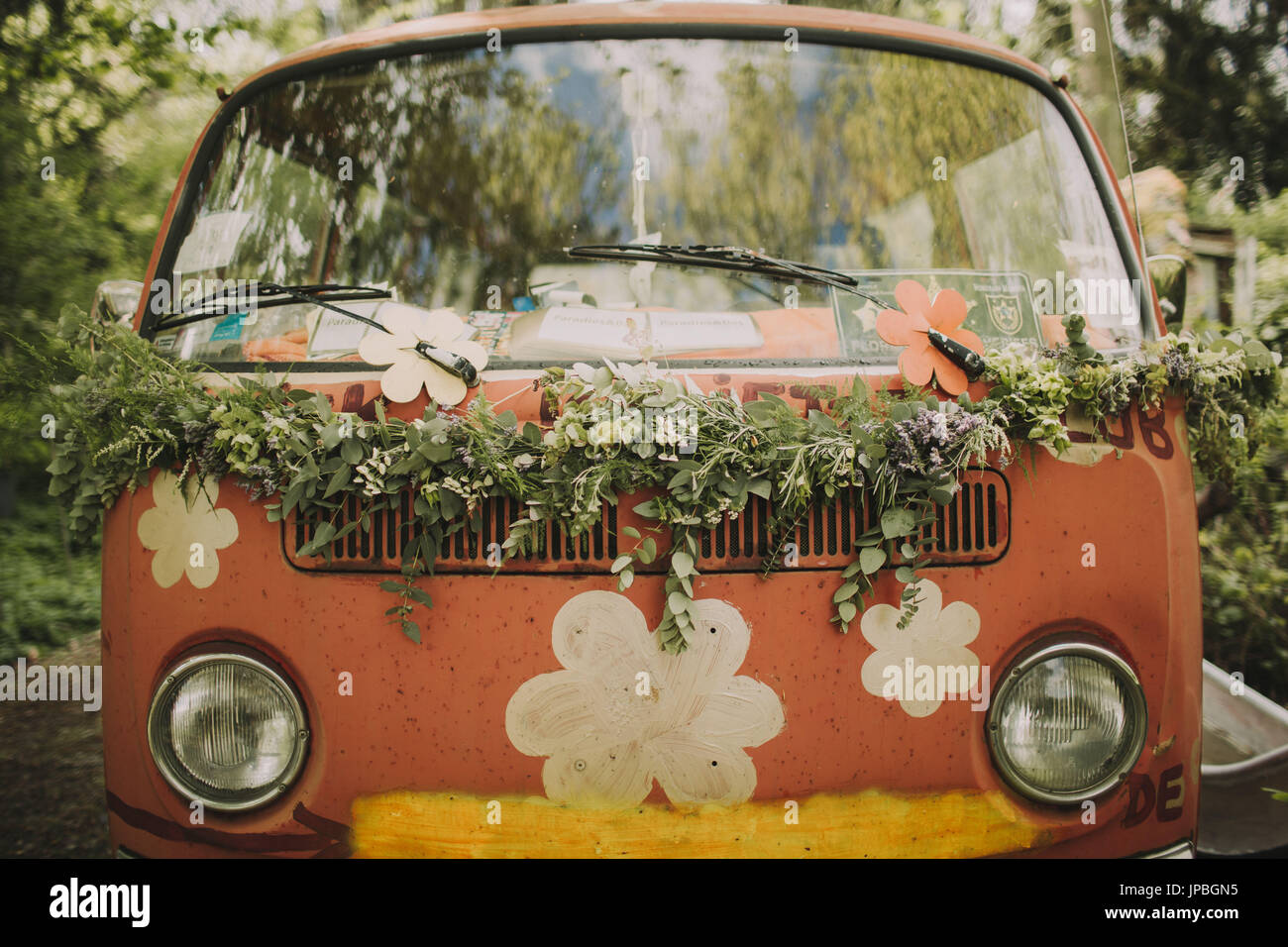 Old VW bus as a wedding car, close up - Stock Image