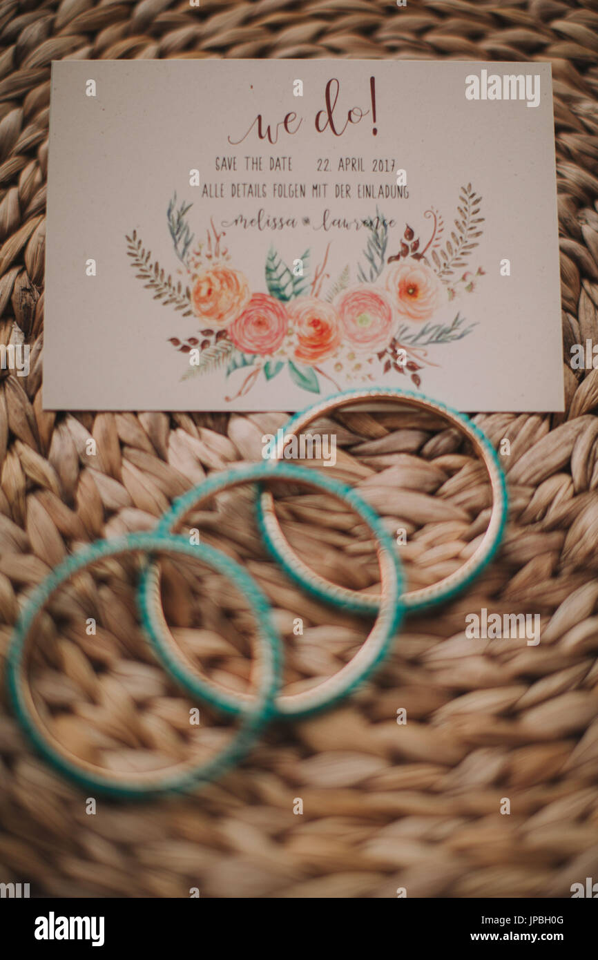Alternative wedding, invitation, jewellery, bangles - Stock Image