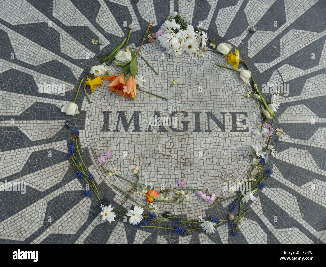 John Lennon Memorial at Strawberry Fields, Central Pak, NY - Stock Image