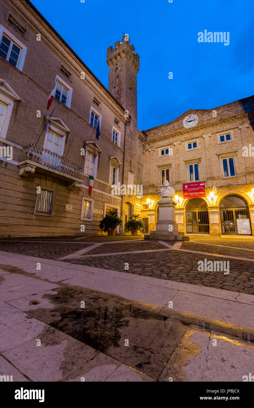 Historical buildings and typical architecture of the ancient old town center of Loreto  Province of Ancona Marche Italy Europe - Stock Image