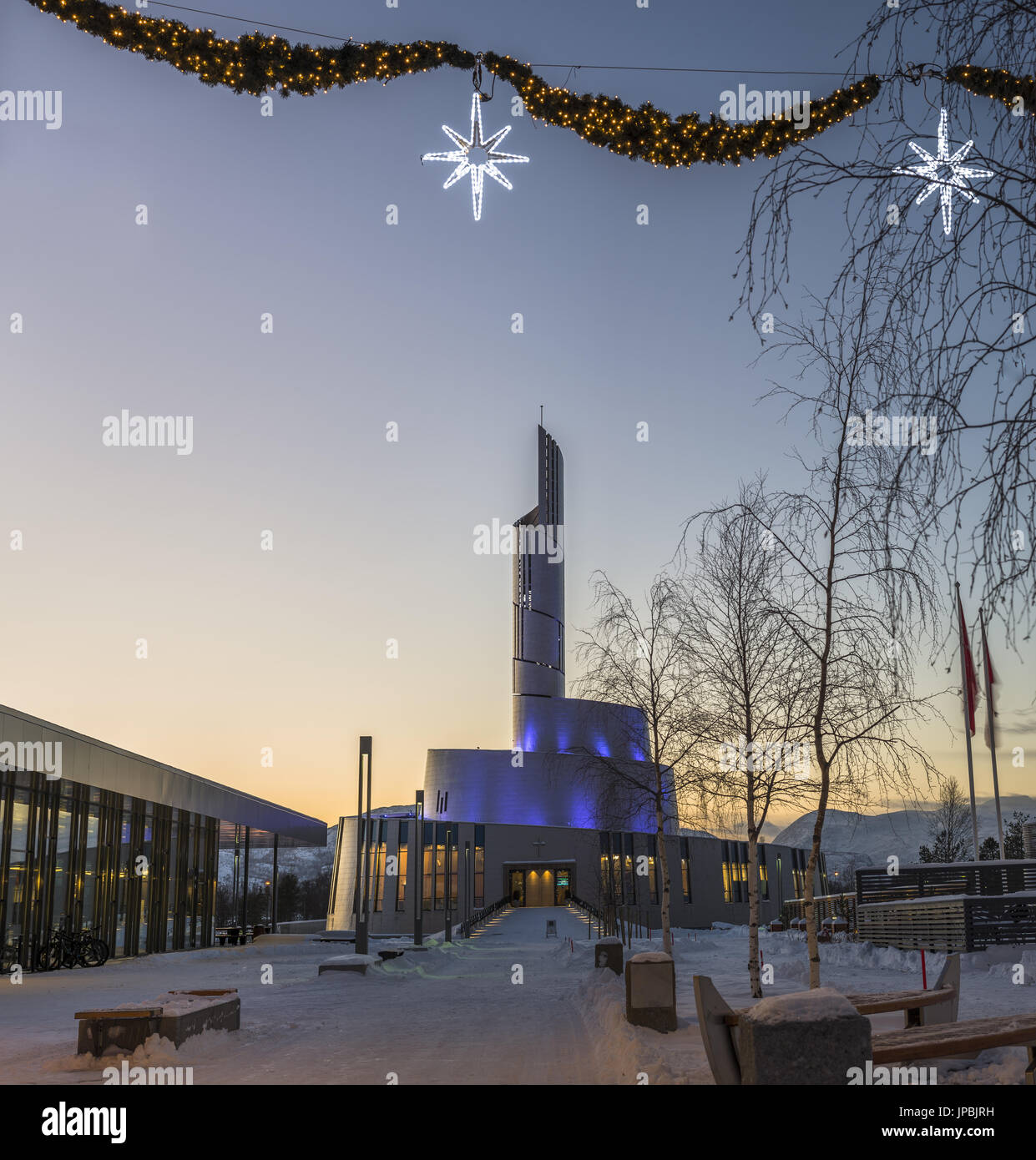 Northernlights cathedral Alta Finnmark winter church christian - Stock Image
