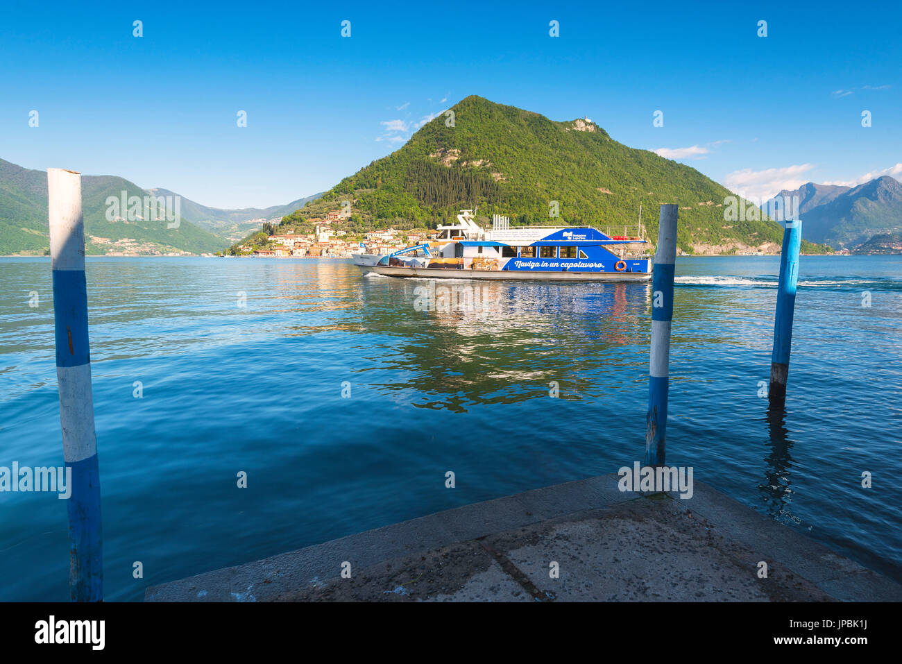 Montisola and Iseo lake, Brescia province, Lombardy district, Italy, Europe - Stock Image