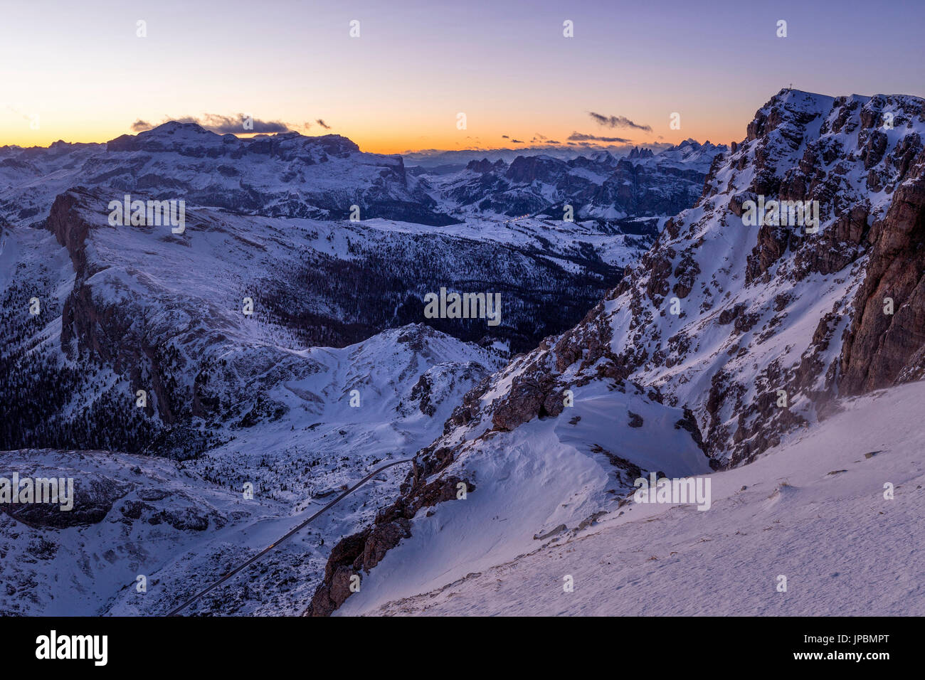 Blue hour in the Eastern Dolomites from Mount Lagazuoi,Cortina d'Ampezzo,Belluno district,Veneto,Italy,Europe Stock Photo
