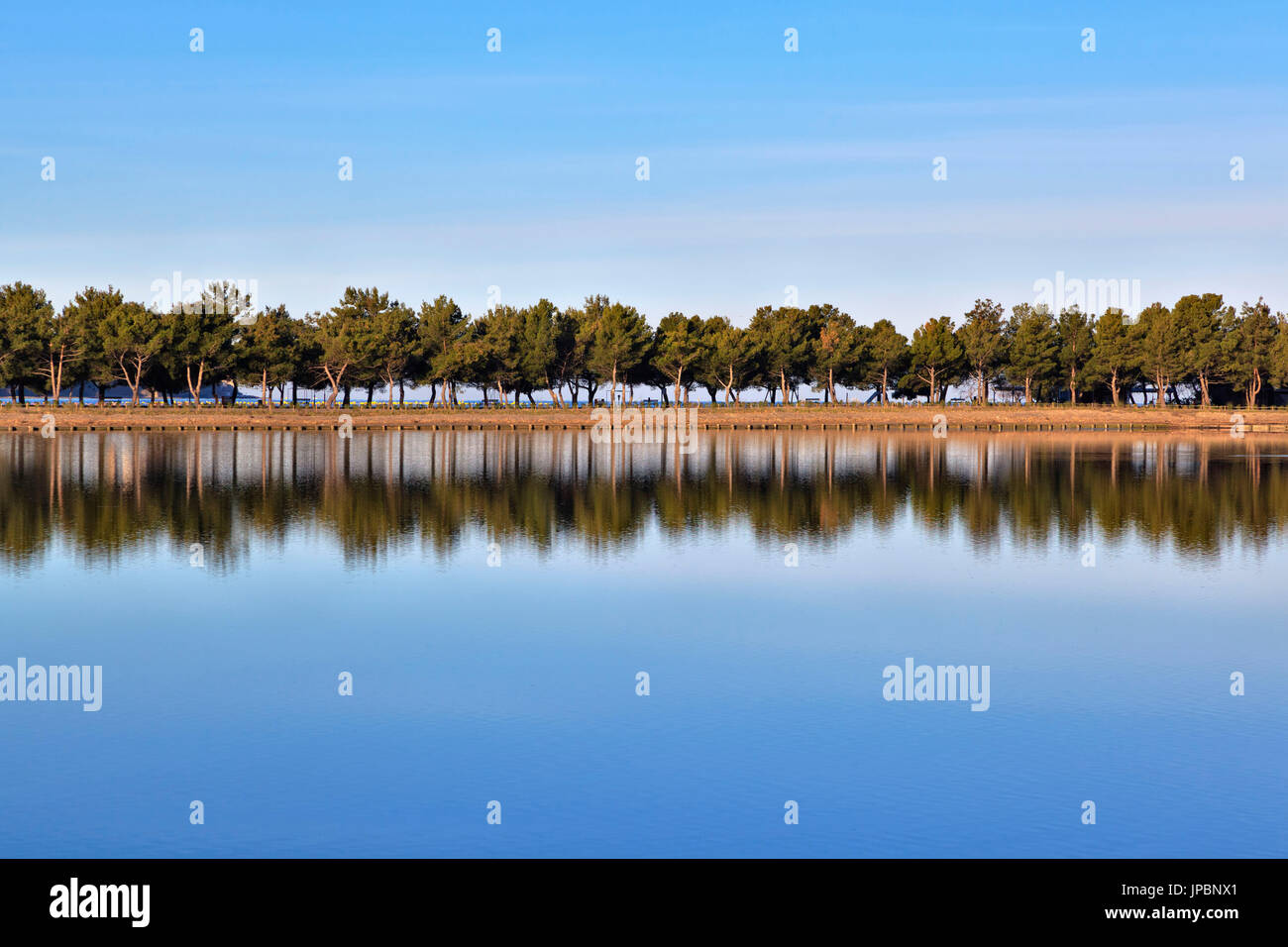 Europe, Slovenia, Istria. Reflection on the water of the Stunjan saltpans Stock Photo