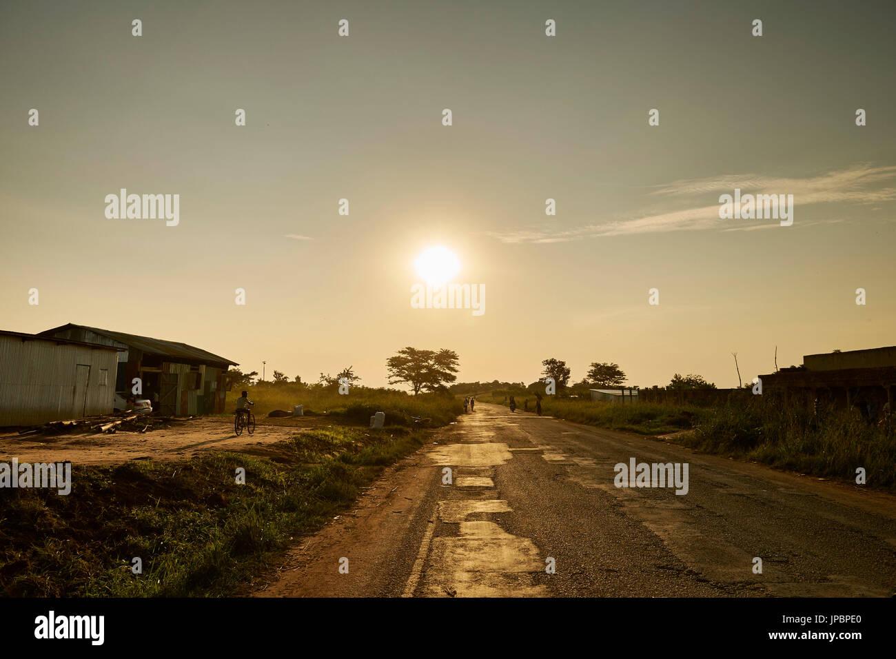 Road in Murchison Falls National Park, Murchison Falls National Park, Masindi District, Western Region of Uganda, Uganda, Eastern Equatorial Africa, Africa - Stock Image