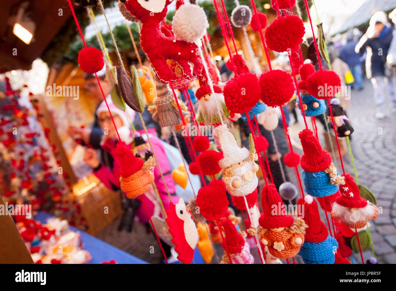 a close up image of the typical Christmas gadgets we can buy during the Christmas market in the city of Brixen, Bolzano province, South Tyrol, Trentino Alto Adige, Italy, Europe, outdoor, - Stock Image