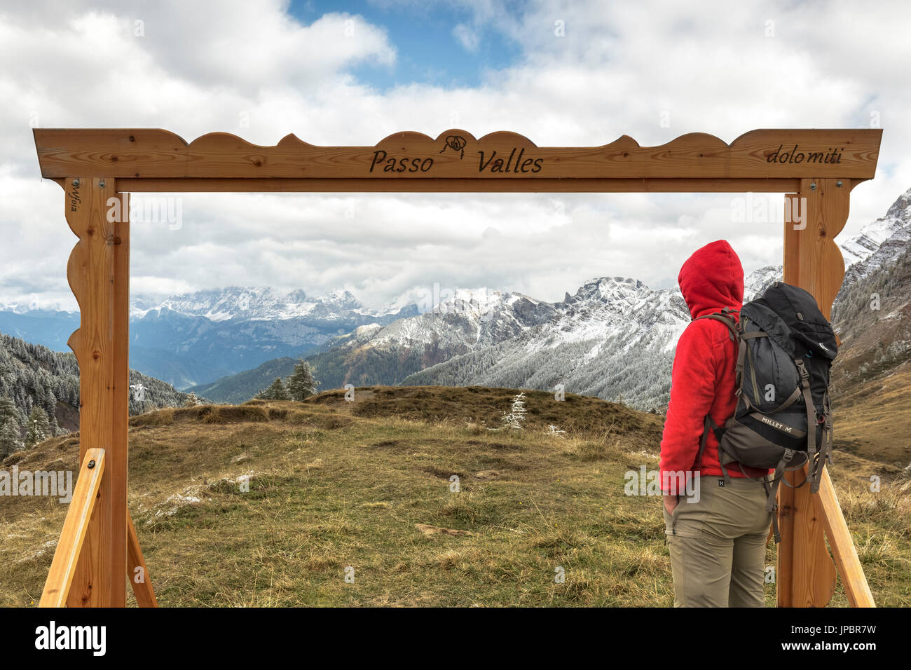 Europe, Italy, Trentino, Predazzo. Gadget for tourists, a wooden frame to take pictures on the Valles pass, Dolomites - Stock Image