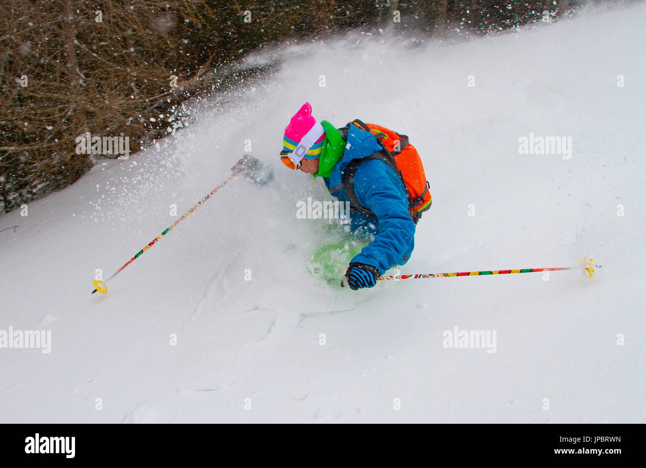 Freeride during winter in powder - Stock Image