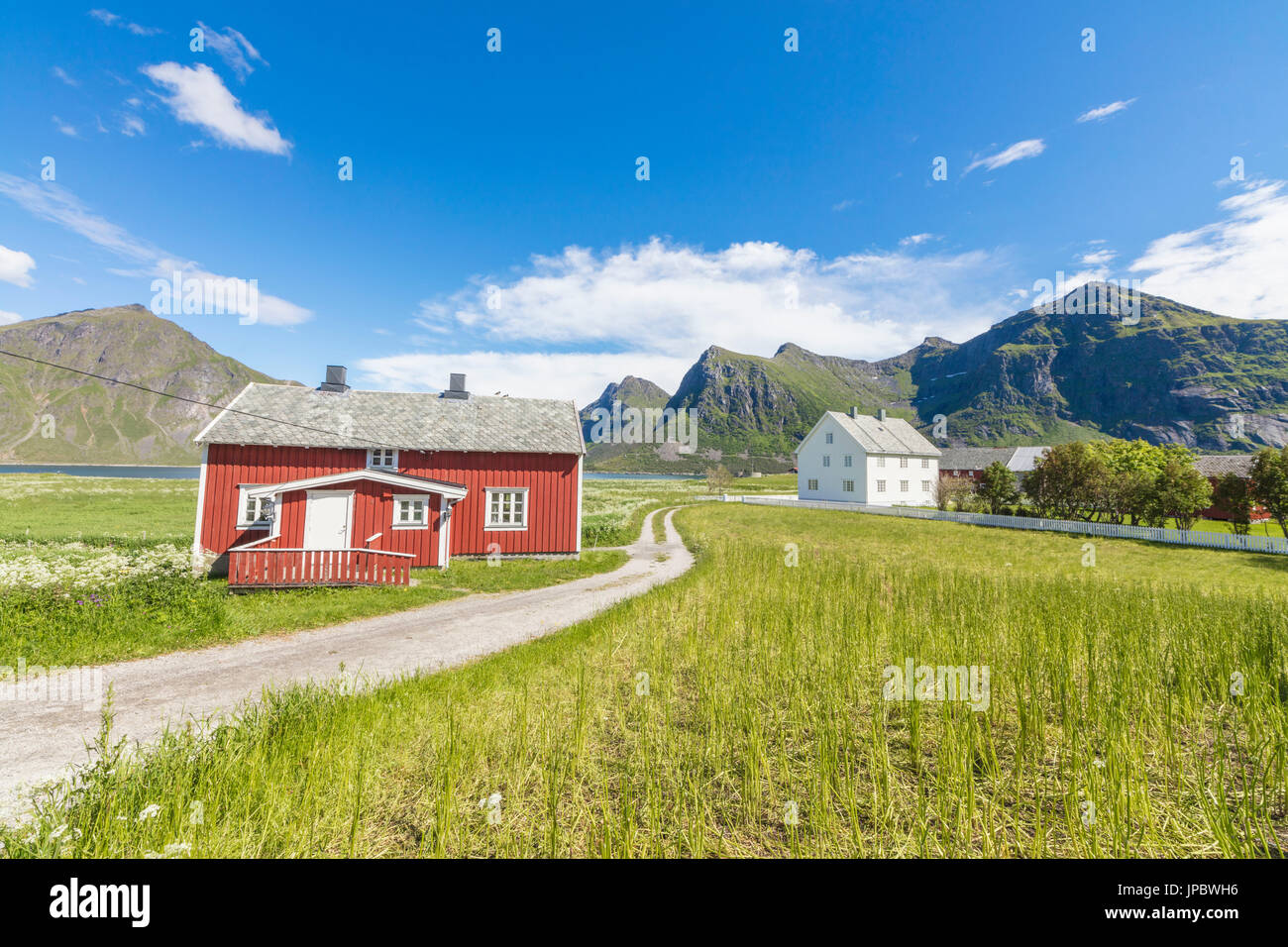Green grass and meadows frame the typical houses called Rorbu in the fishing village of Flakstad Lofoten Islands Norway Europe - Stock Image