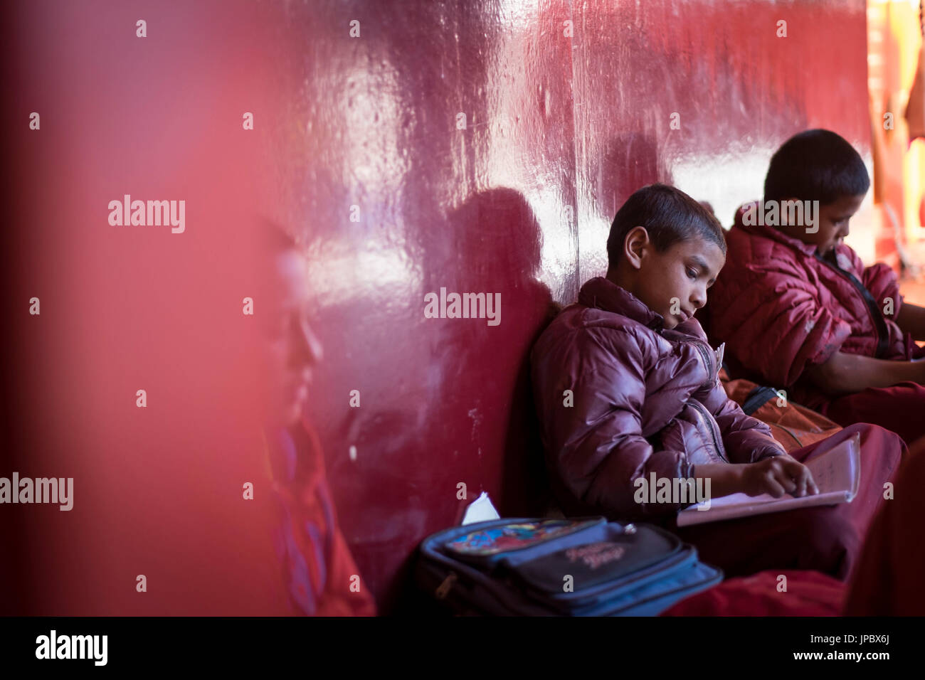 Matho Monastery, Indus Valley, Ladakh, India, Asia. Monks learning in the  monastery school. - Stock Image