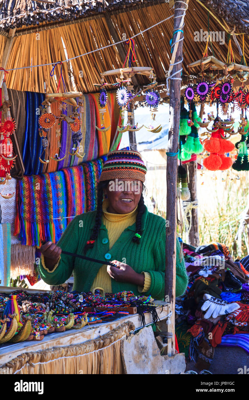 Market on the floating islands of Uros, Lake Titicaca, Puno, Peru - Stock Image