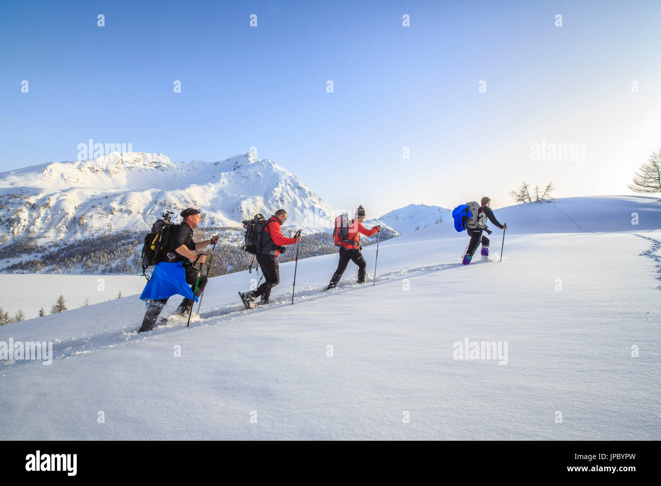 Snowshoe hikers are advancing in the fresh snow. Maloja Pass. Engadine. Switzerland. Europe - Stock Image