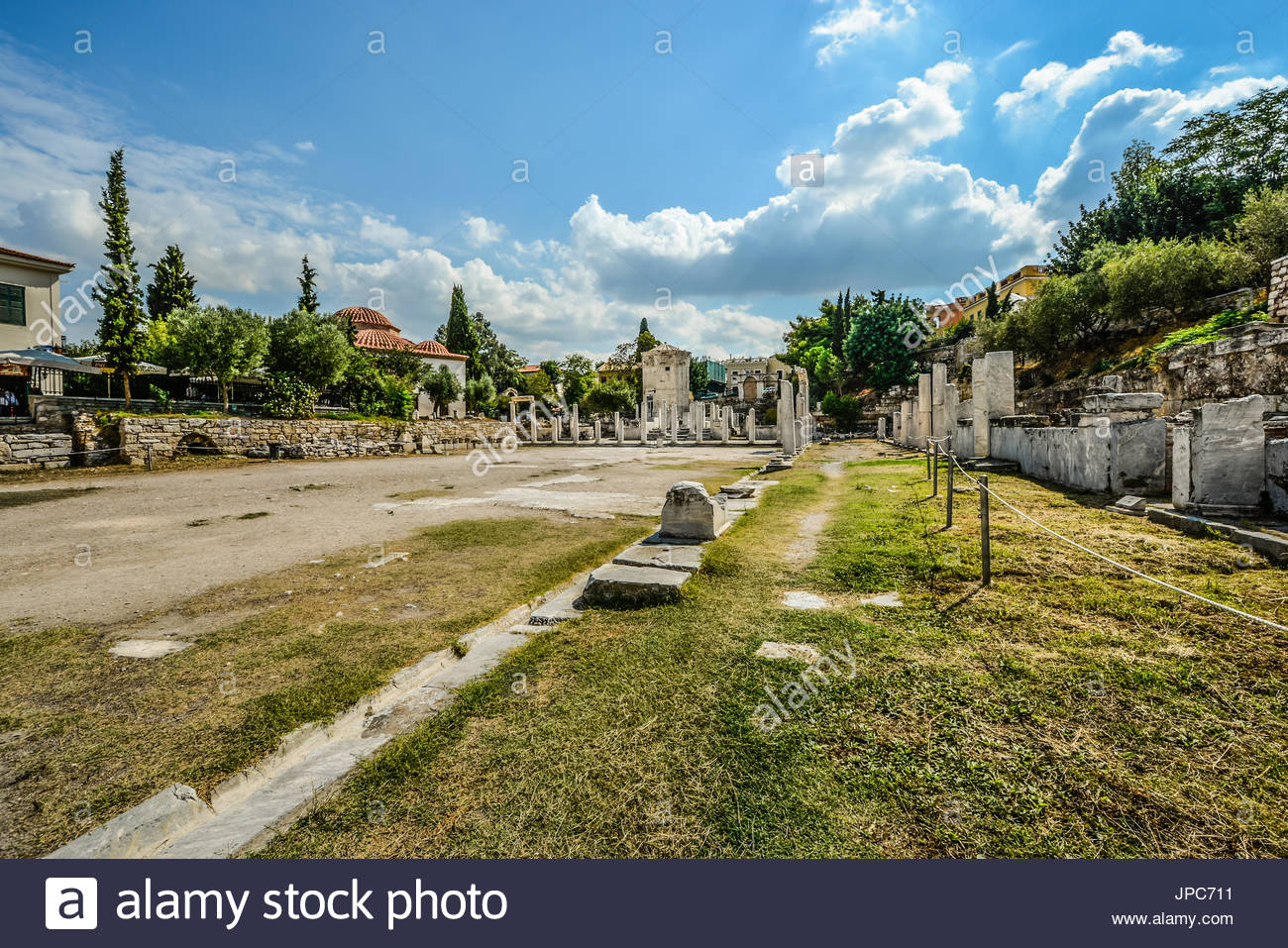The ancient Roman agora in Athens Greece in summer - Stock Image