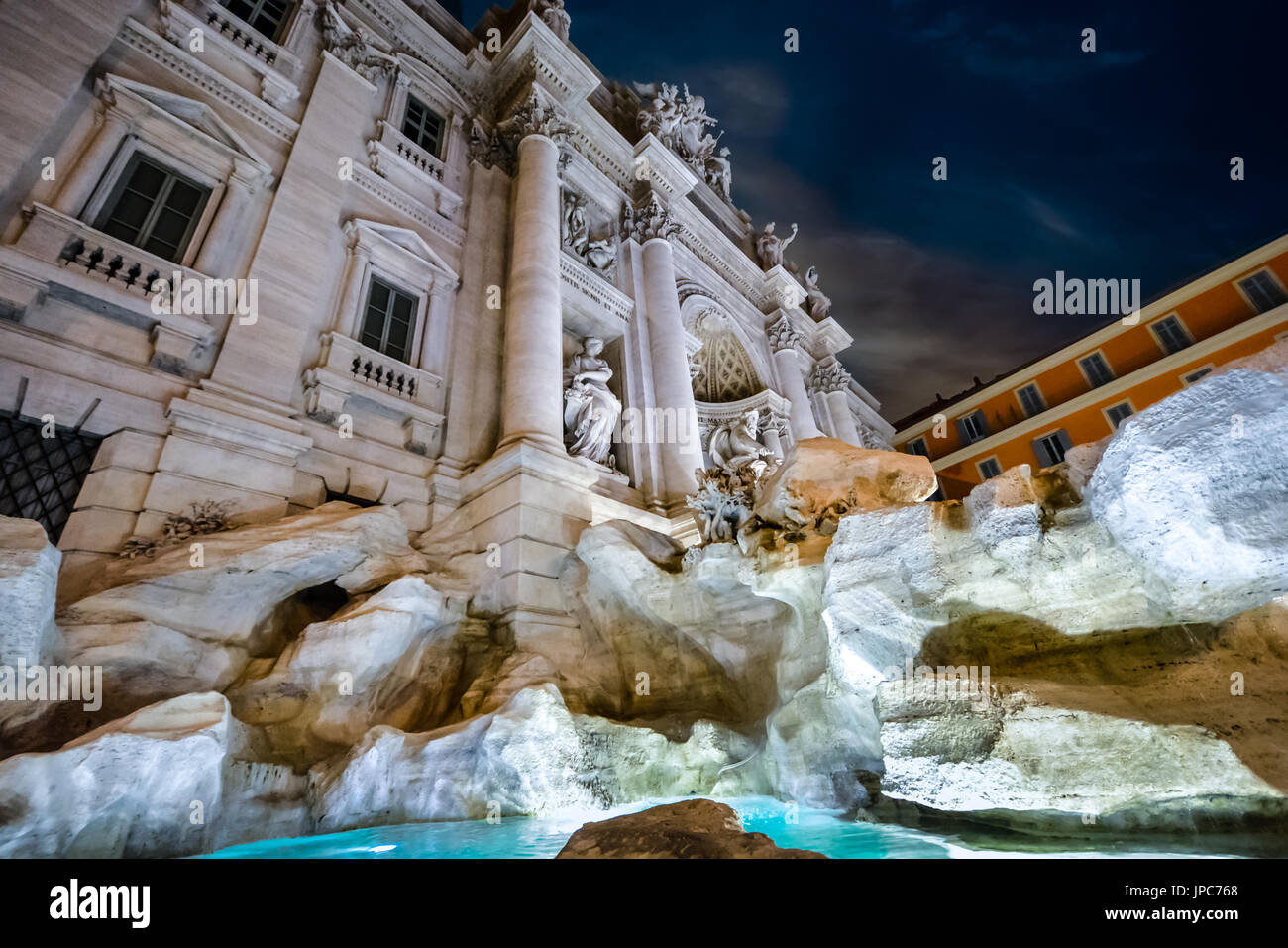 Close up of the Trevi Fountain in Rome Italy. Taken in the evening - Stock Image