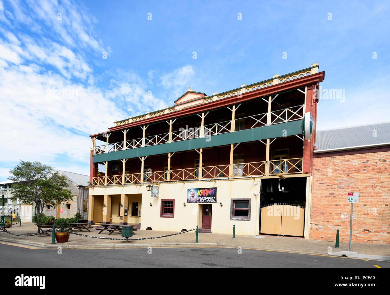 Historic building of the Criterion Hotel in Maryborough Heritage Precinct, Queensland, QLD, Australia - Stock Image