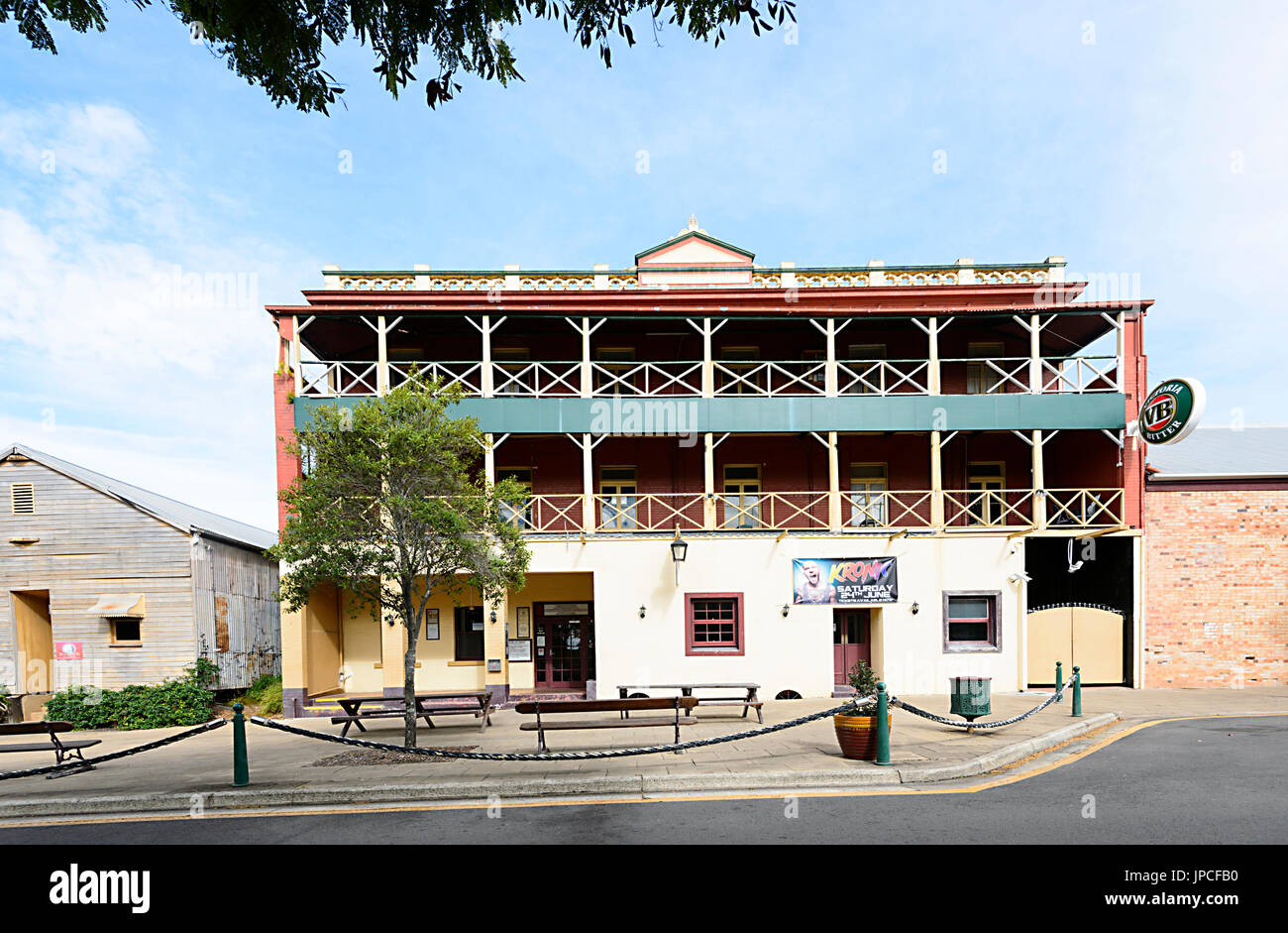Historic building of the Criterion Hotel in Maryborough Heritage Precinct, Queensland, QLD, Australia - Stock Image