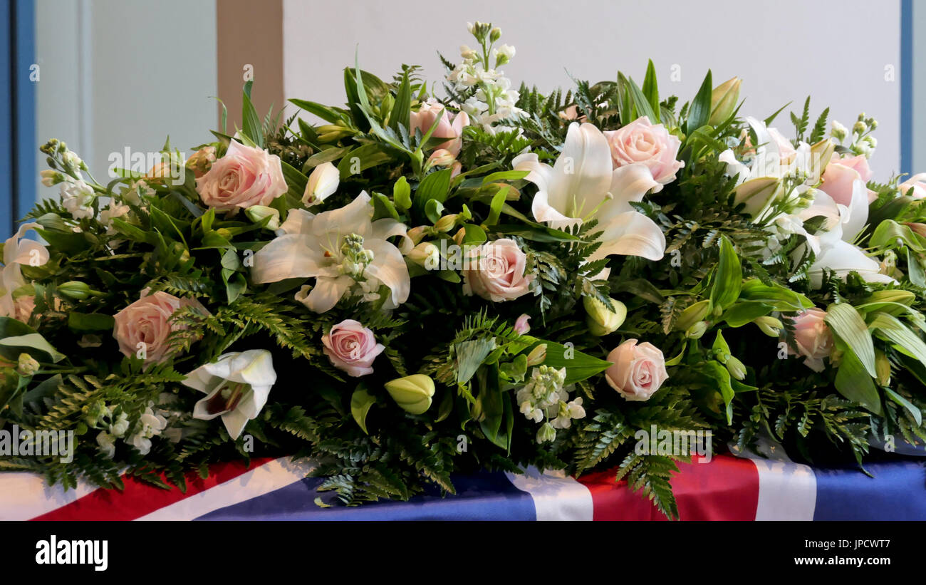 Funeral Casket Or Coffin Inside The Hearse Or At Church Chapel Stock Photo Alamy