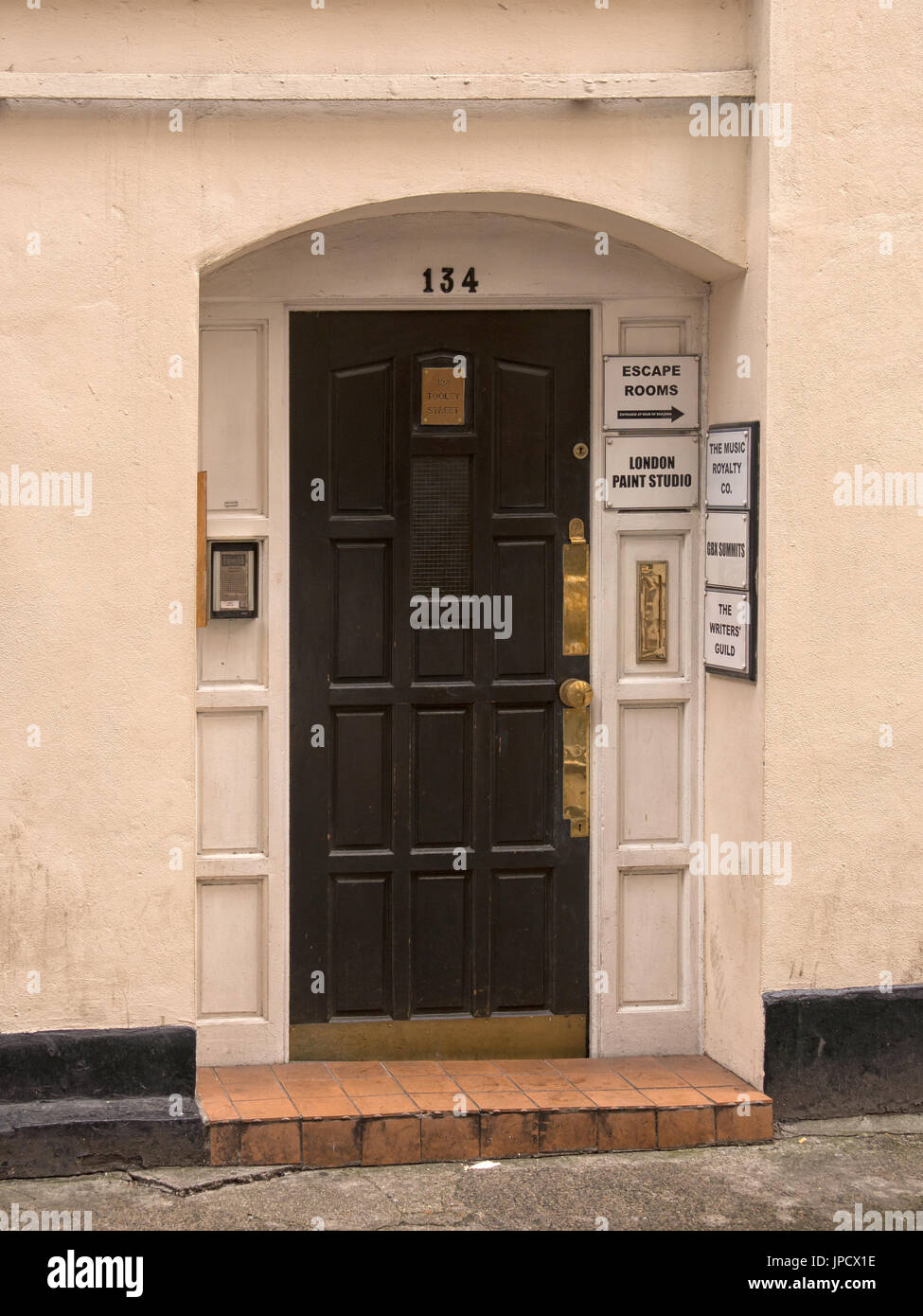 Entrance to the offices of the Writers Guild - Stock Image