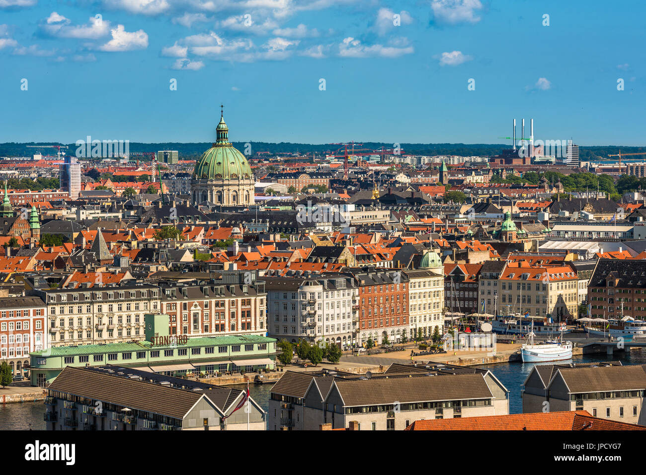 Aerial view of Copenhagen city center, Denmark - Stock Image