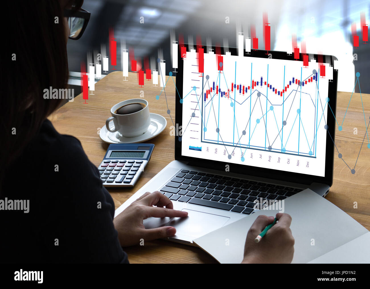 Financial forex Stock market, financial, business Candle stick graph chart - Stock Image