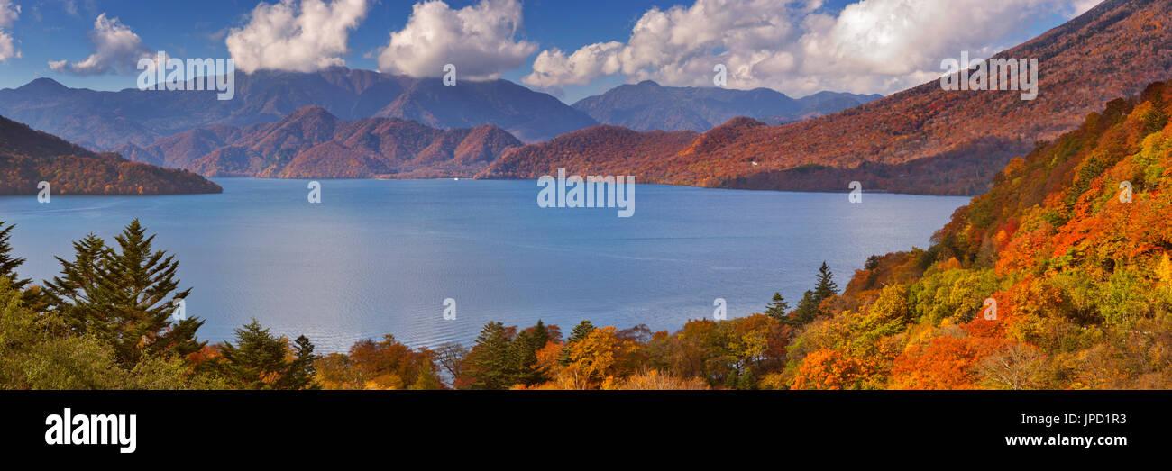 Lake Chuzenji (Chuzenjiko, 中禅寺湖) near Nikko in Japan. Photographed on a beautiful day in autumn. Stock Photo