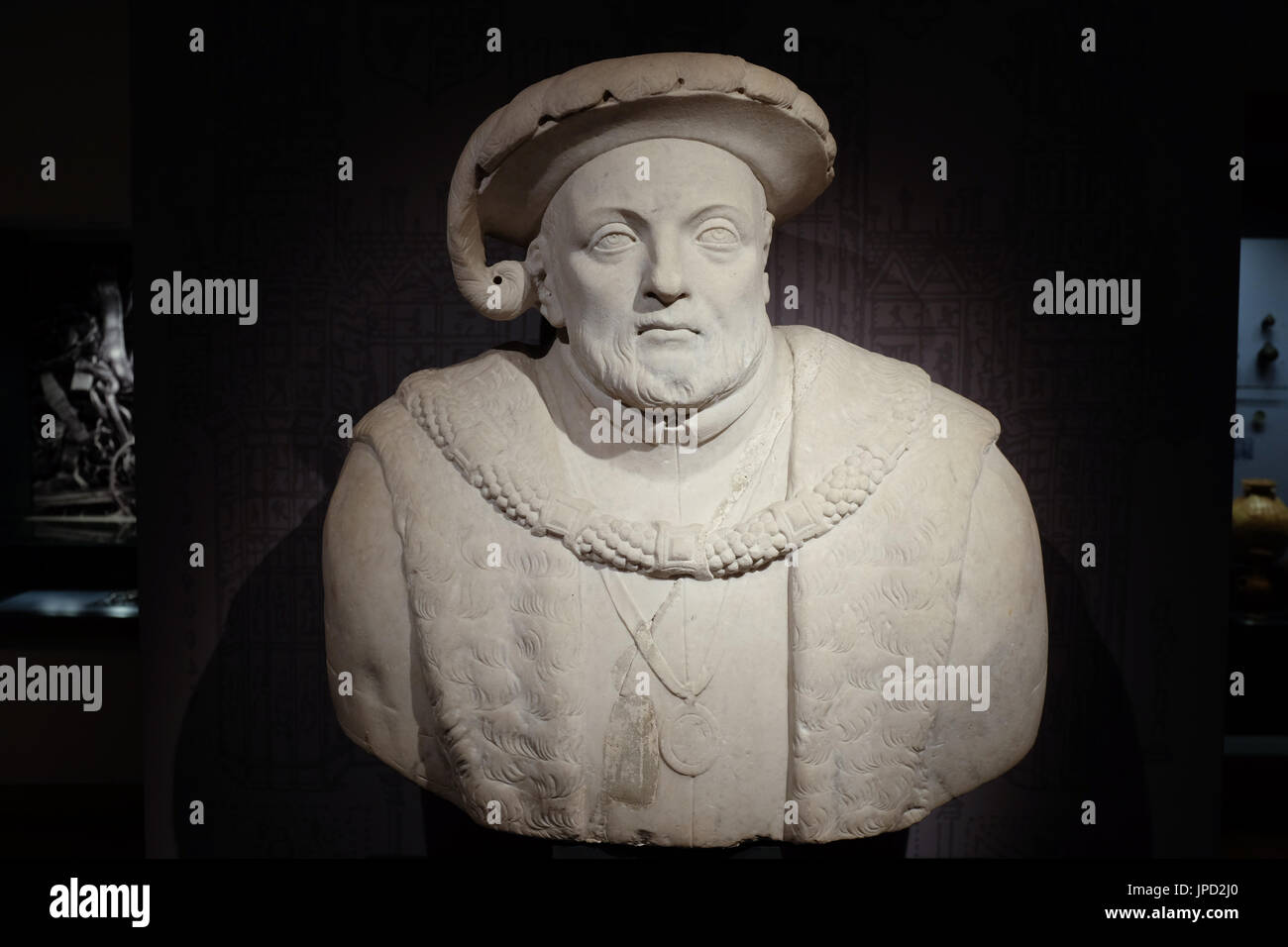 A marble sculpture of King Henry VIII of England, on display at the Ashmolean Museum in Oxford, England. Stock Photo