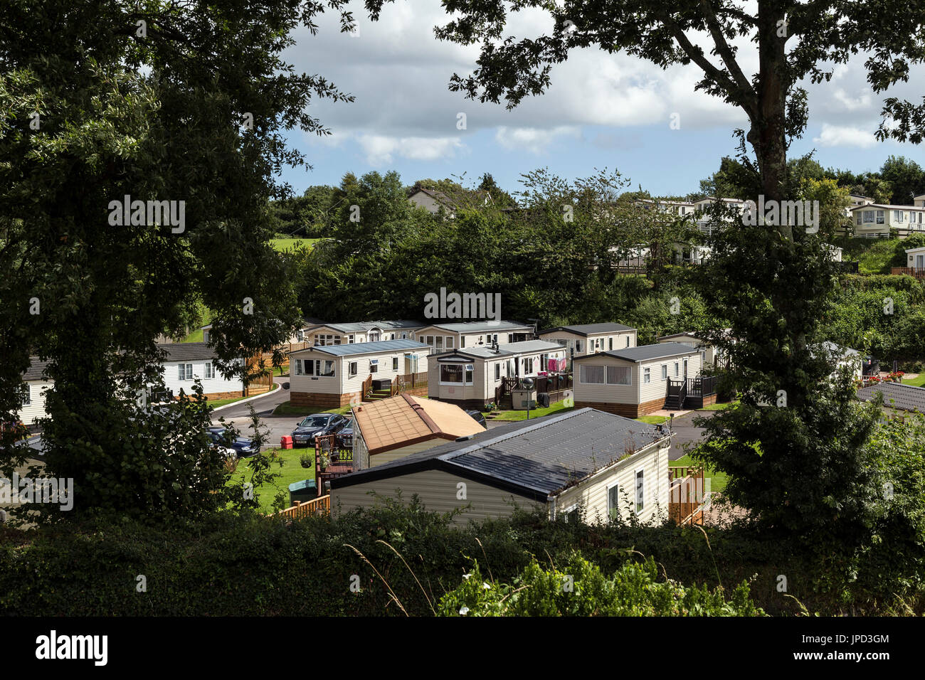 Trailer Home, Trailer Park, Tree, Grass, Horizontal, House Rental, Nature, No People, Outdoors, Residential District, Stock Photo
