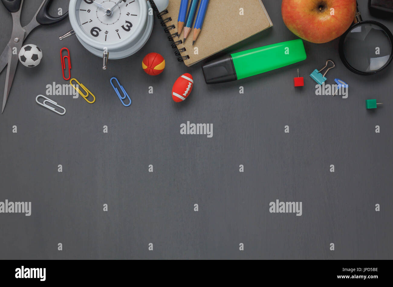 items for office desk. Top View Accessories Back To School Or Items Desktop Office Desk Background.Variety Stationery On Grunge Blackboard With Copy Space For Mock Up And We