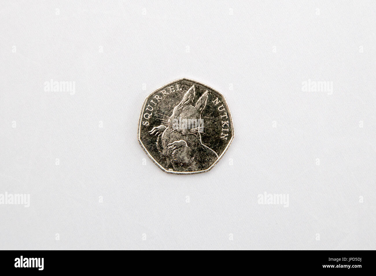 Beatrix Potter collectors British fifty pence coins in circulation jemima puddle-duck mrs tiggy-winkle squirrel nutkin - Stock Image