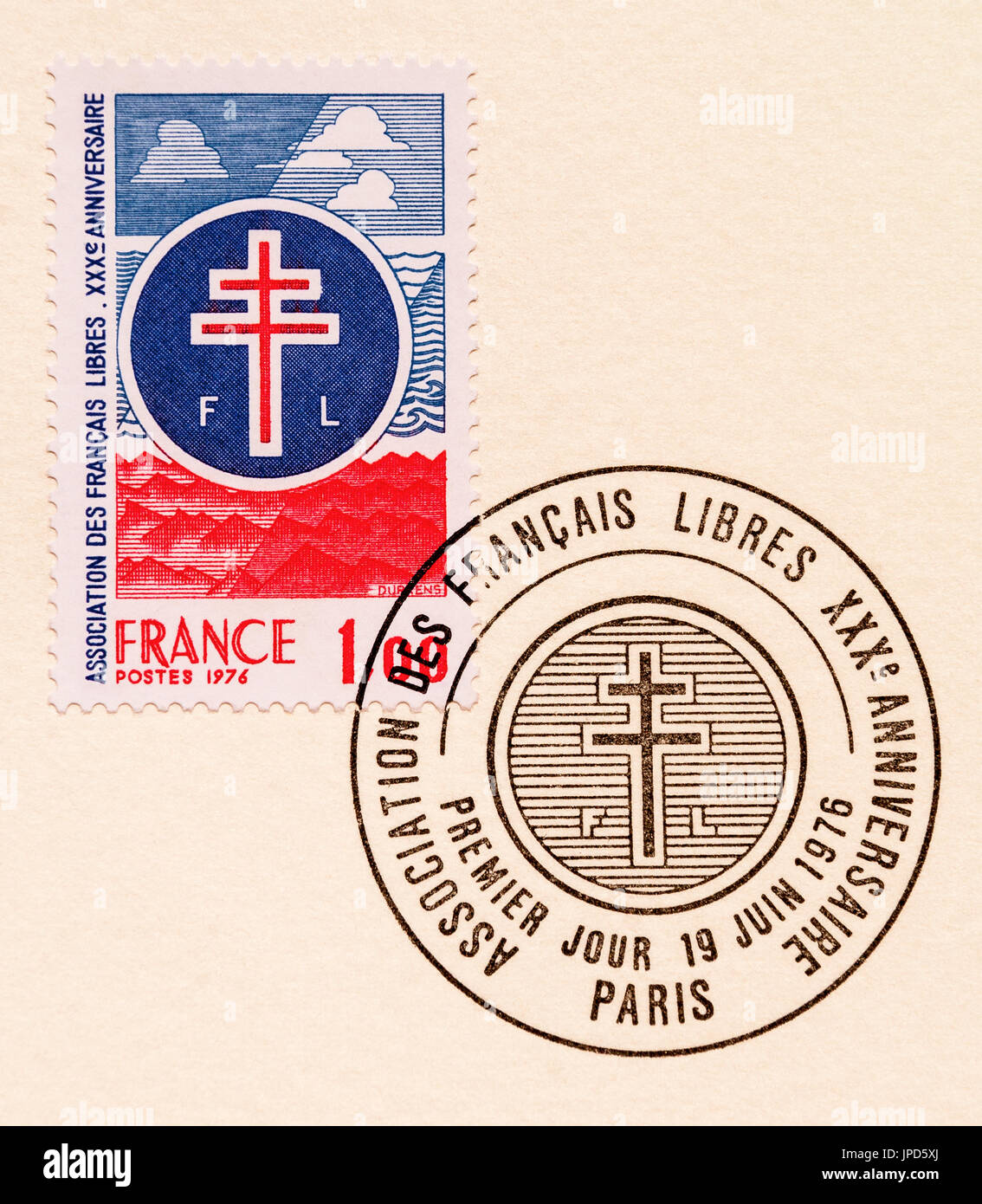 First day postmark on French stamp - Free French. - Stock Image