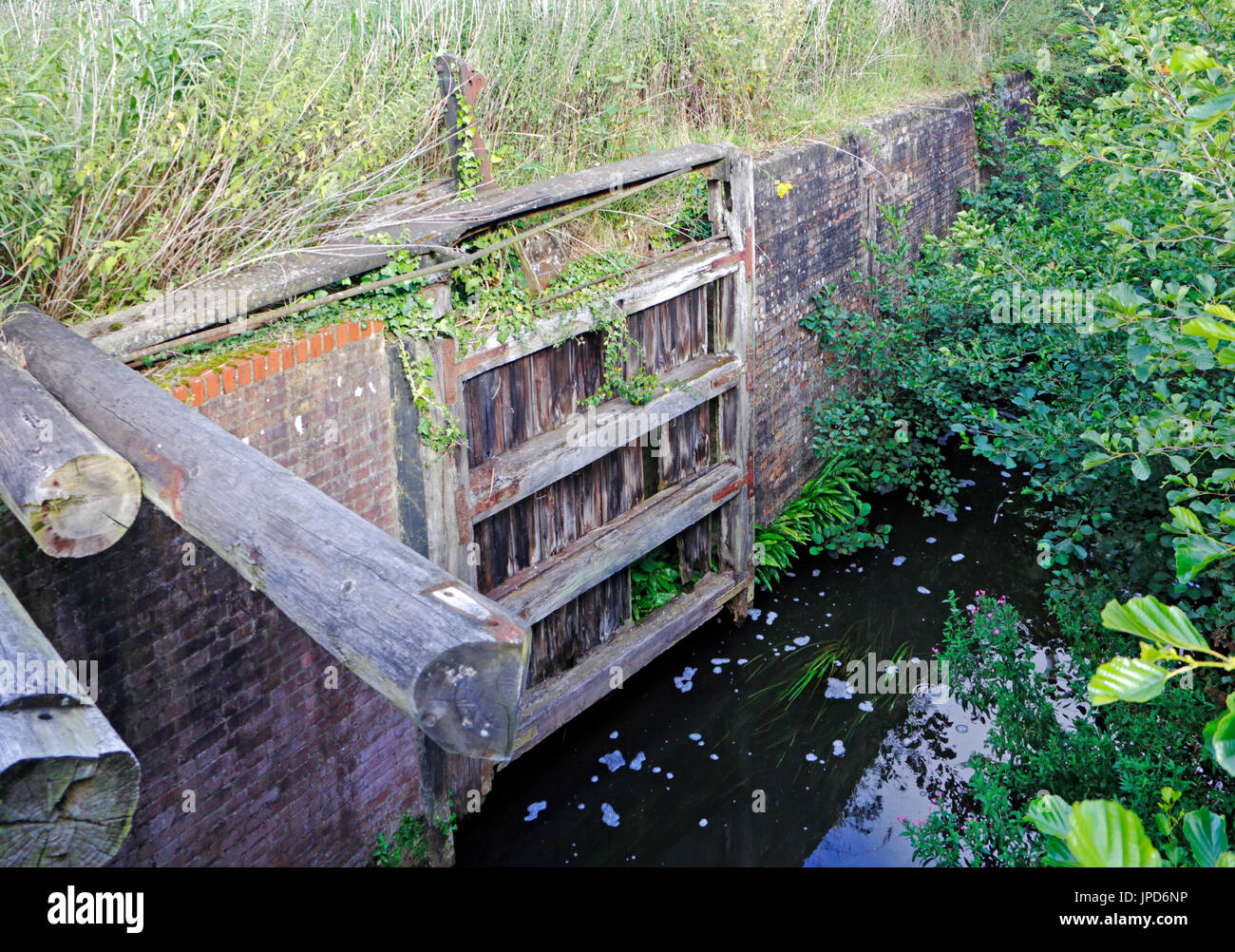 A disused lock gate on the old North Walsham and Dilham Canal at Briggate, near North Walsham, Norfolk, England, United Kingdom, Europe. - Stock Image