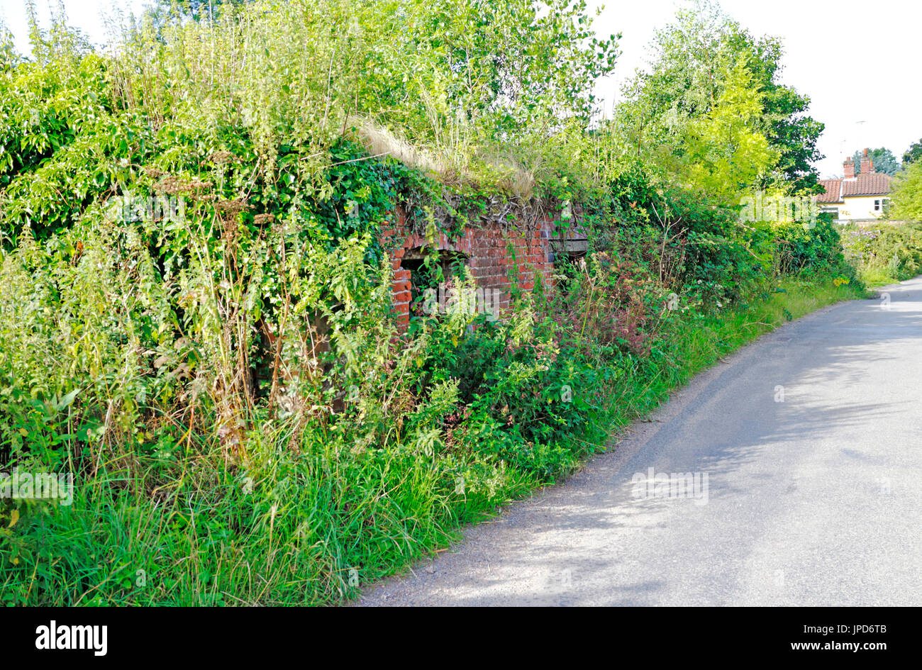 A view of the brick base remains of the old watermill at Briggate, near North Walsham, Norfolk, England, United Kingdom. - Stock Image