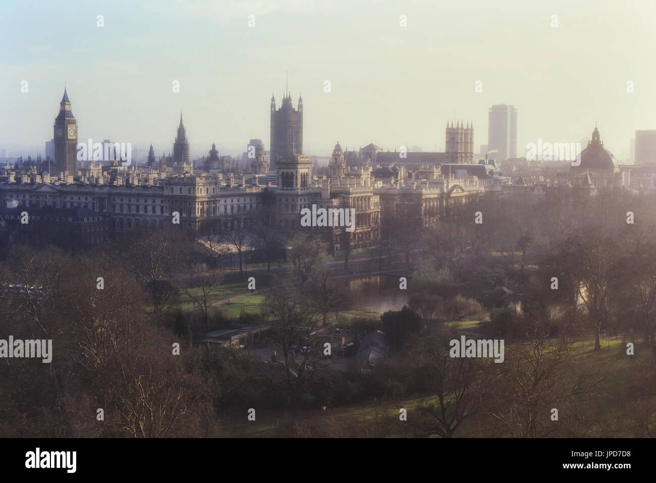 Whitehall viewed from Duke of York column, London, England, UK - Stock Image