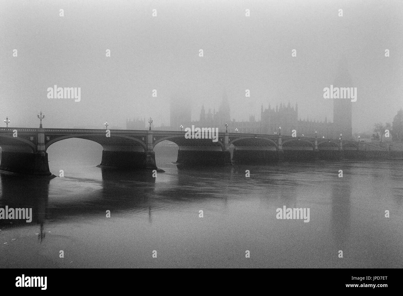 Palace of Westminster / Houses of Parliament in the fog. London. England. GB - Stock Image