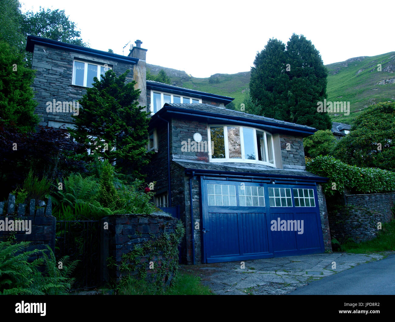 House where Sir Hugh Walpole OBE wrote most of his work, Derwentwater, The Lake District, Cumbria, UK - Stock Image