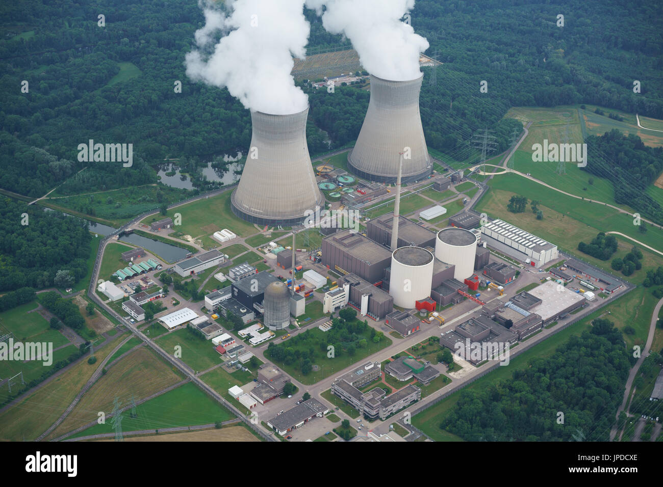 GUNDREMMINGEN NUCLEAR POWER PLANT (aerial view). near the city of Günzburg, Bavaria, Germany. - Stock Image