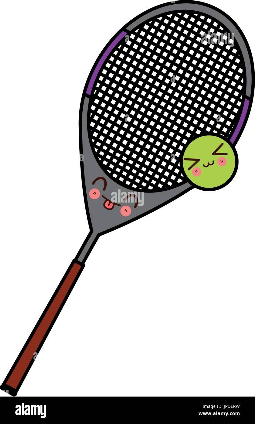 Kawaii Tennis Racket And Ball Sport Cartoon Stock Vector Art