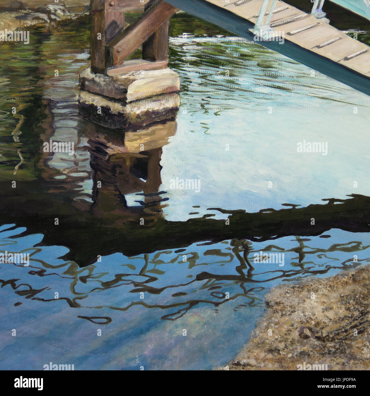 The underwater shore gleams under dark, rippled reflections of the bridge overhead in a canal in Venice, CA, in an acrylic painting. - Stock Image
