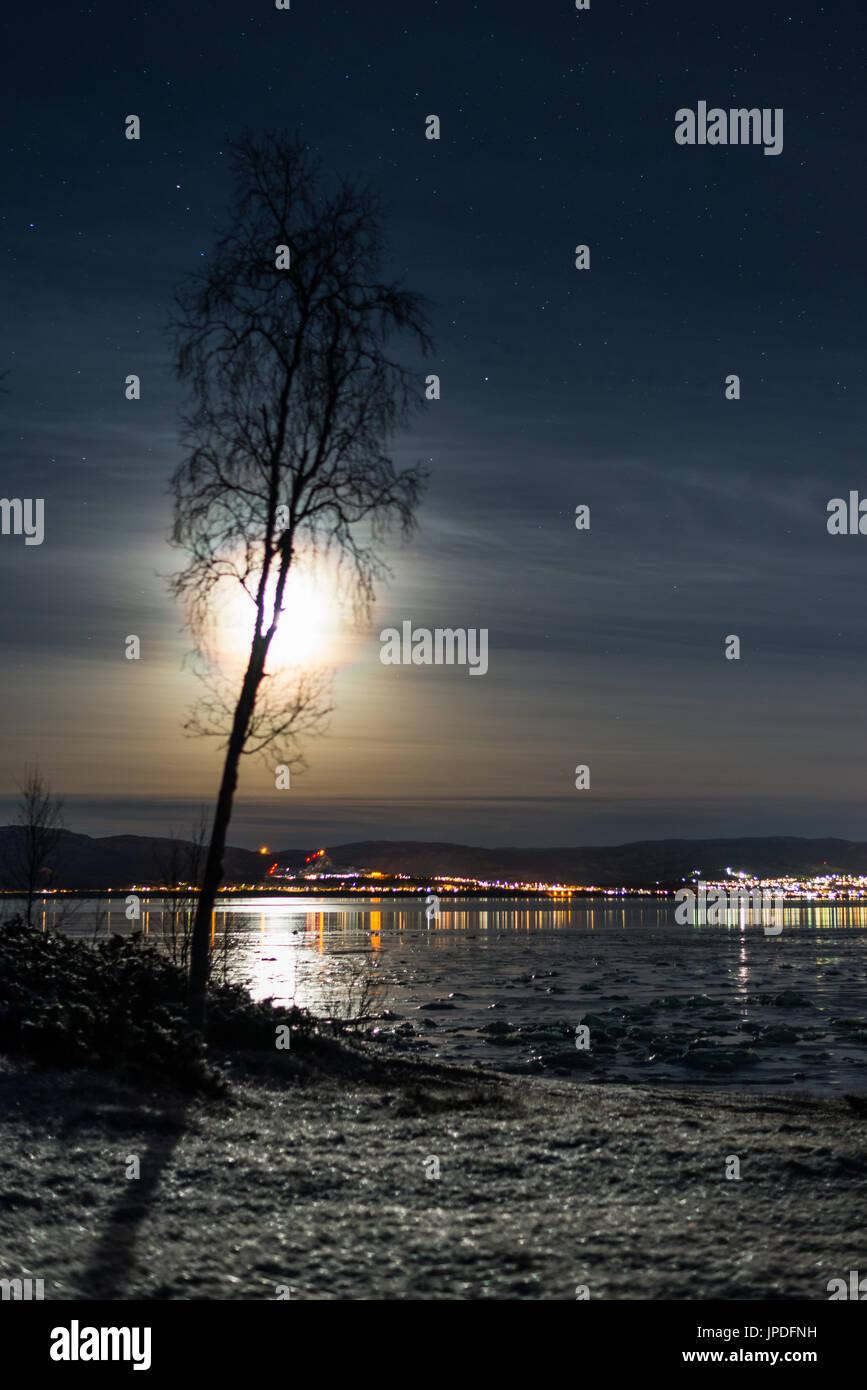moonshine dark evening night reflections - Stock Image