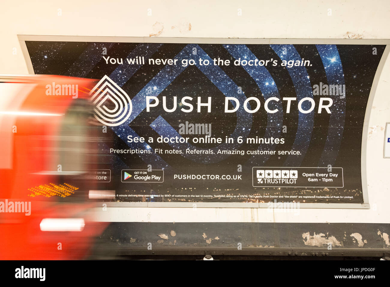 Advertisement for Push Doctor's online surgery - Stock Image