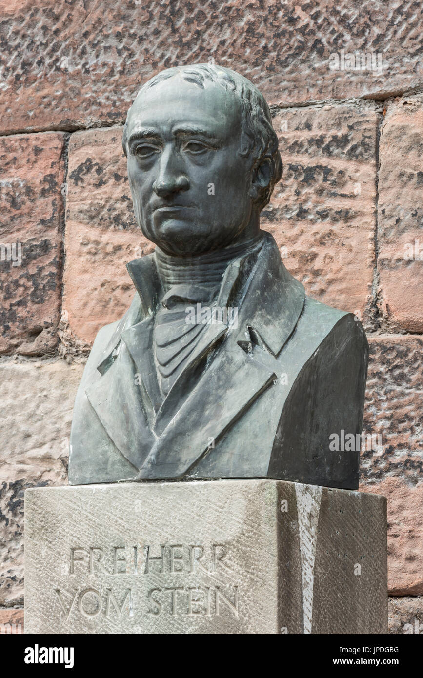 Freiherr vom Stein, 1757-1831, politician, reformer, bronze bust, monument at the Old University, Marburg, Hesse, Germany - Stock Image