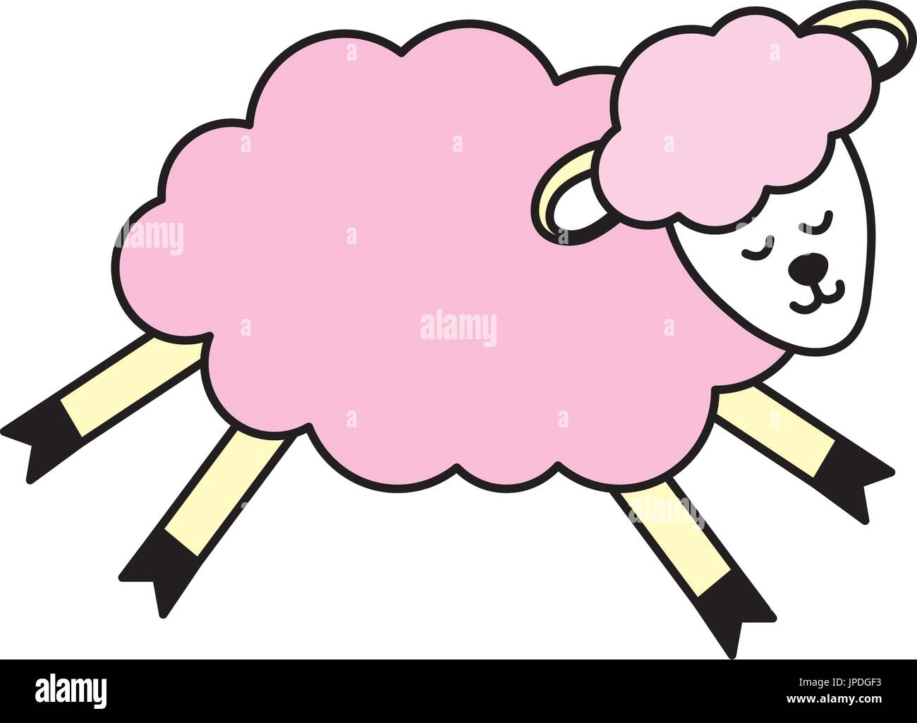 cute sheep animal with wool design - Stock Vector