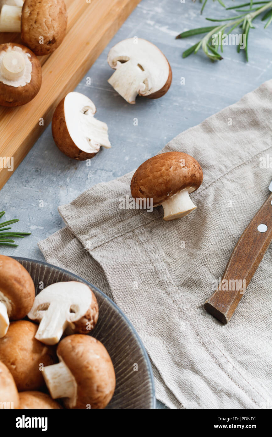 Top view of fresh champignons Portobello. Concept of cooking. - Stock Image