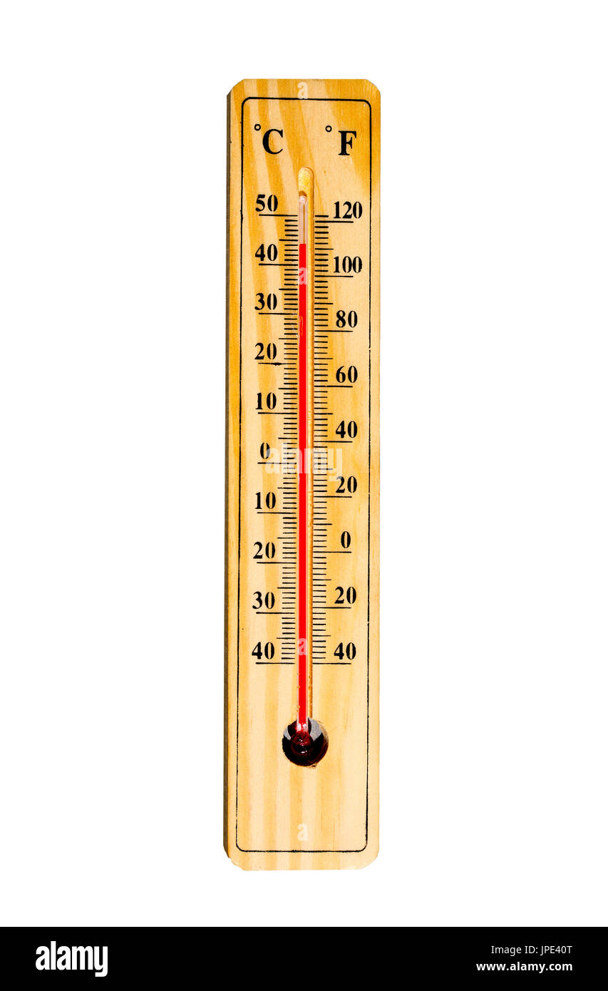 Mercury thermometer marking 44 degrees Celsius 112 Fahrenheit isolated on a white background. Summer heat shown on mercury thermometer. - Stock Image