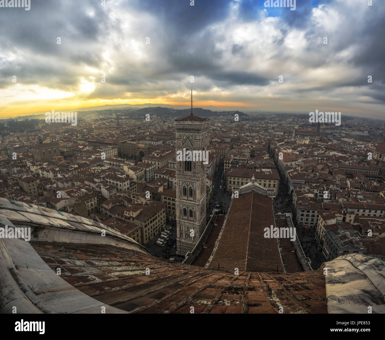 Florence, Tuscany, Italy. Sunset from the top of Cupola del Brunelleschi and Santa Maria del Fiore with Giotto tower. - Stock Image